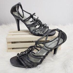 Naturalizer Gray Bead Fringe Sandal Heels 6